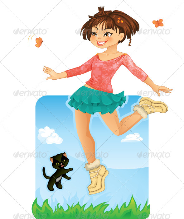 Happy Girl Jumping  - People Characters