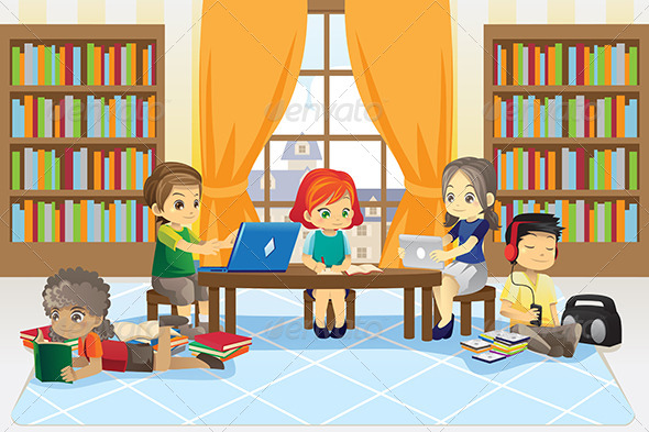 Children in Library - People Characters