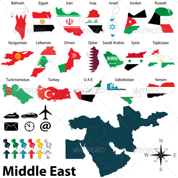 Maps of Middle East - Travel Conceptual