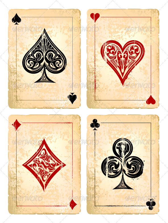 Grunge Poker Cards Vector Set - Vectors
