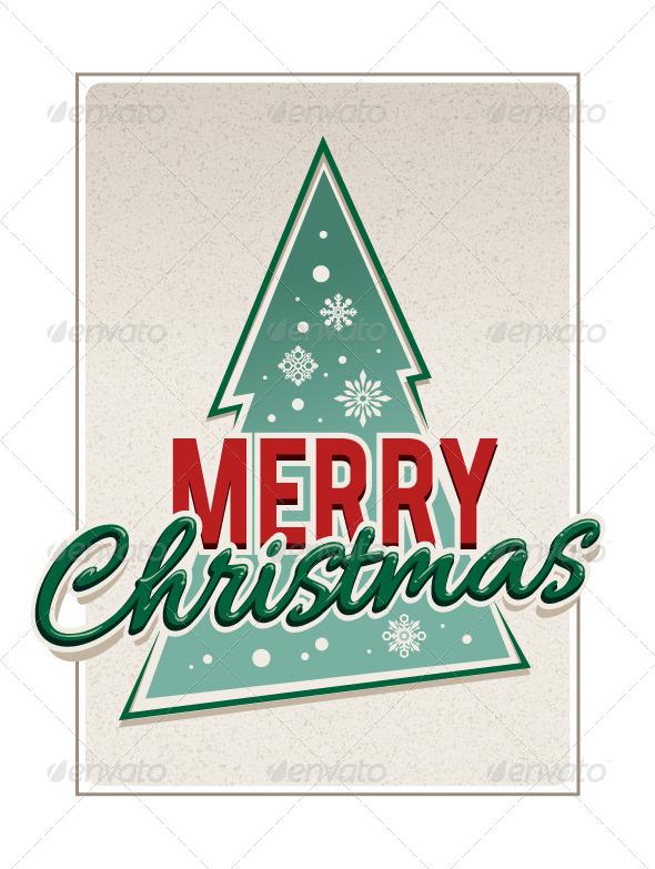 Retro Merry Christmas Typography - Vectors