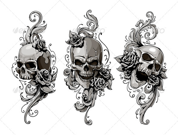 Skulls with Floral Patterns - Vectors