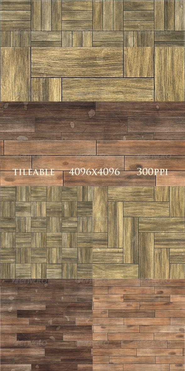 4 Worn Parquet Textures - Wood Textures