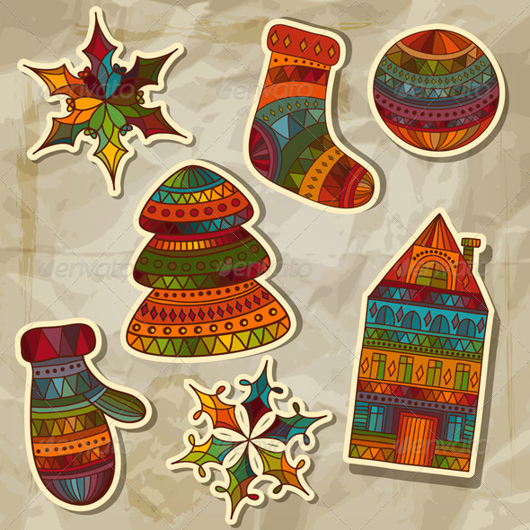 Vector Christmas Stickers Design Elements - Seasons/Holidays Conceptual