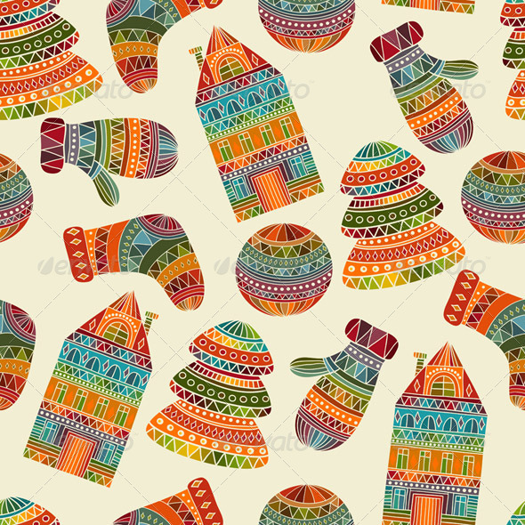 Vector Seamless Winter Christmas Pattern - Patterns Decorative