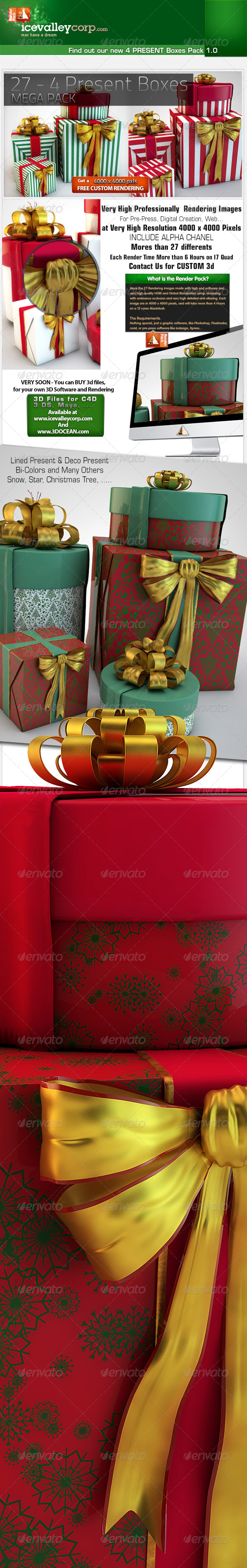 27th - 4 Present Boxes in HirRes - 3D Backgrounds