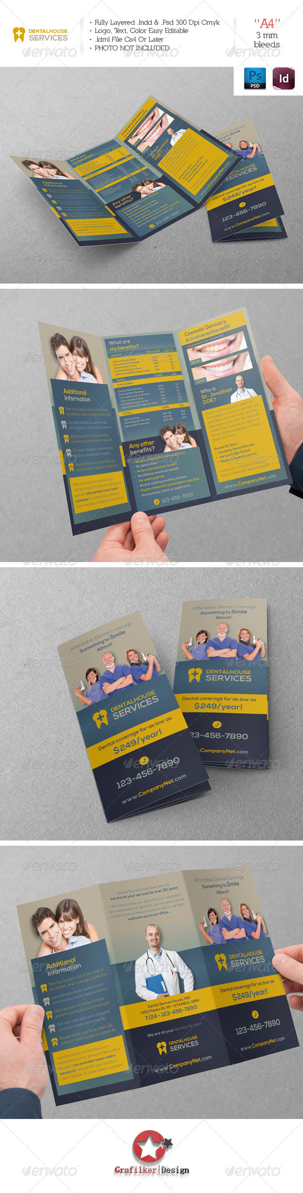 Dental Services Trifold Template - Brochures Print Templates