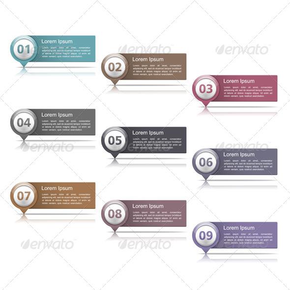 Design Elements with Numbers - Web Elements Vectors