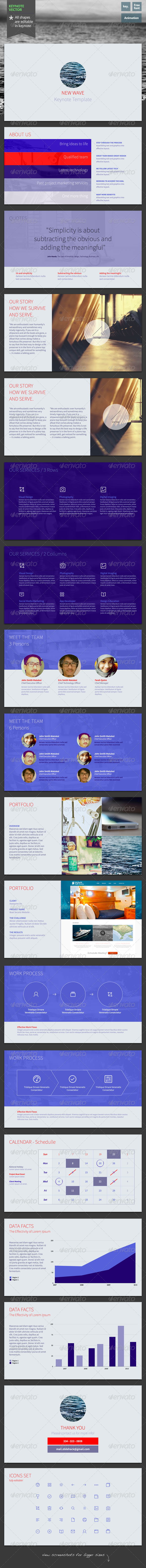 New Wave - Keynote Template - Keynote Templates Presentation Templates