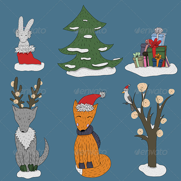 Christmas in Forest Set - New Year Seasons/Holidays