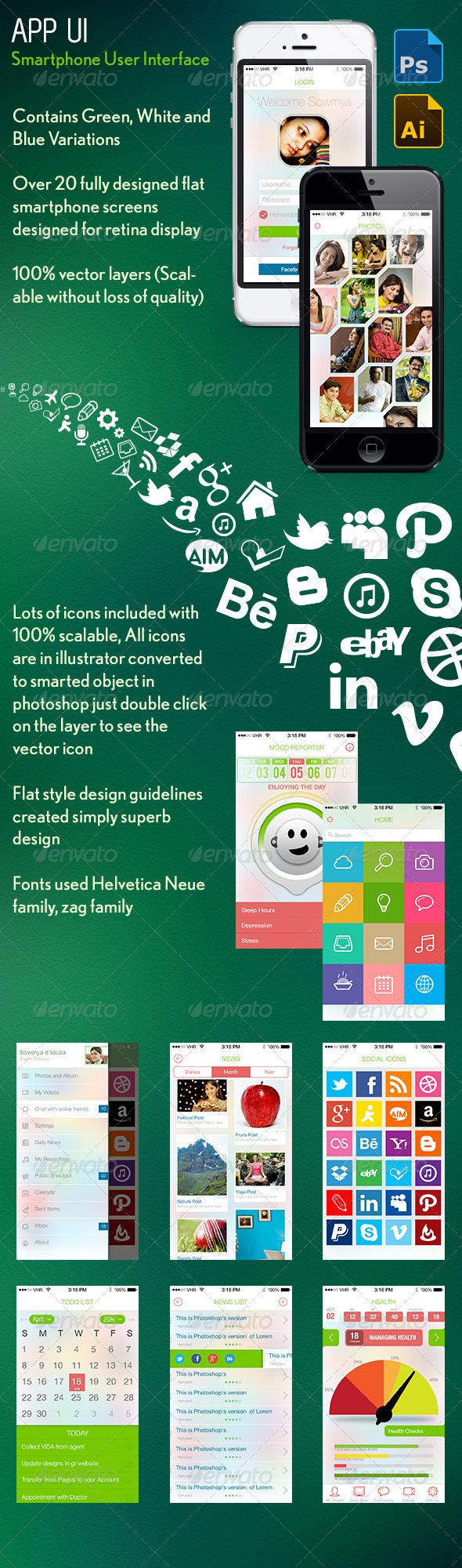 Smartphone User Interface Kit - User Interfaces Web Elements