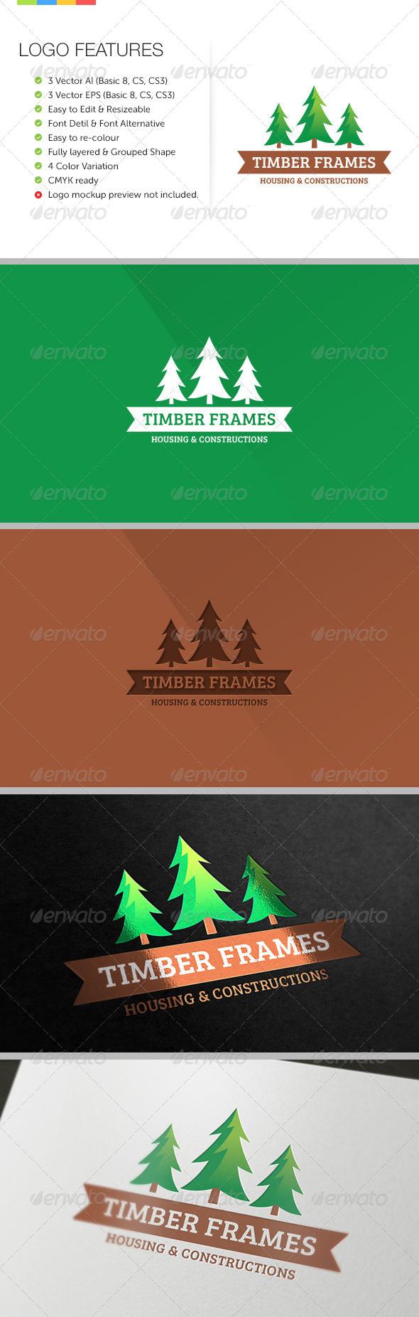 Timber Frame Housing Logo - Nature Logo Templates