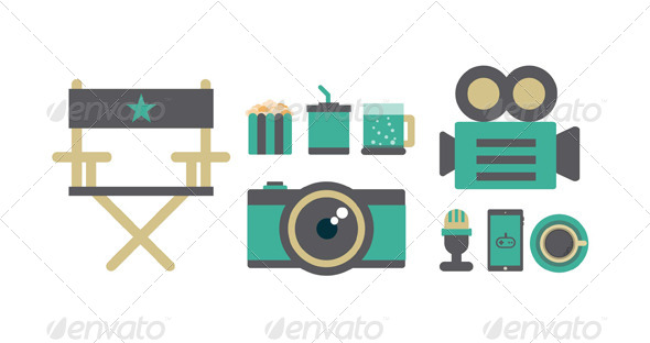 Flat Icons Elements of Film - Vectors