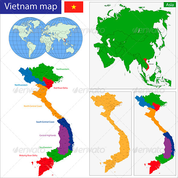 Vietnam Map - Travel Conceptual
