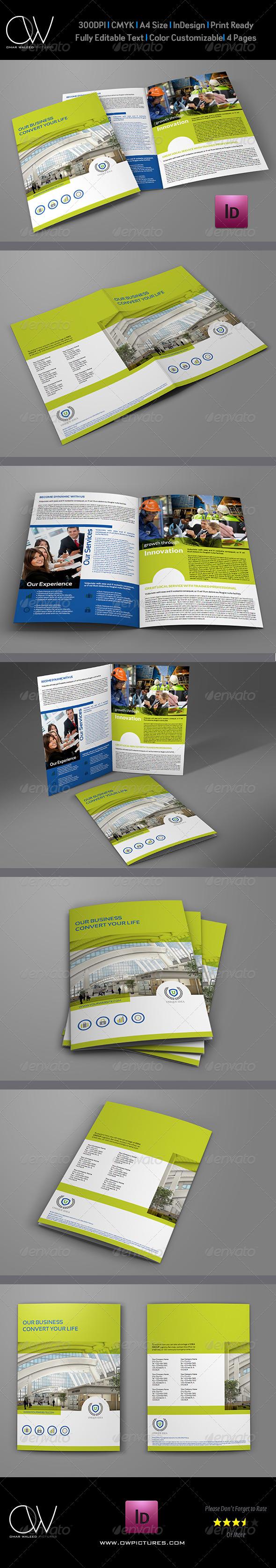 Company Brochure Bi-Fold Template - Corporate Brochures