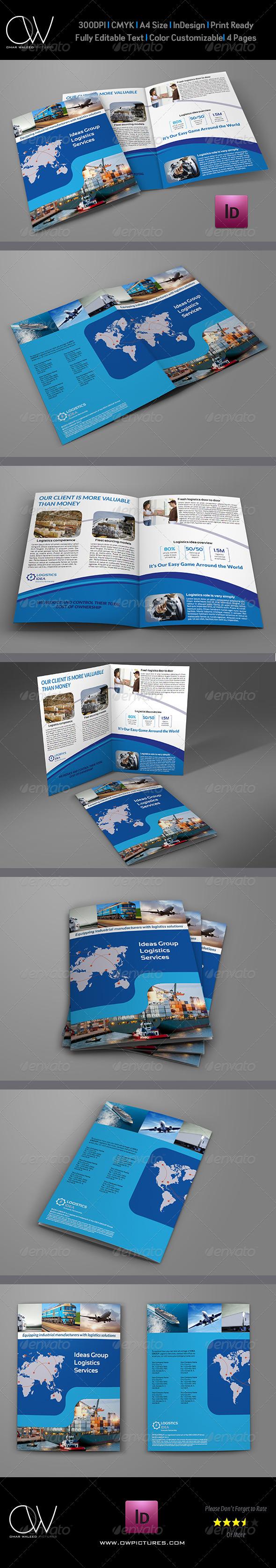 Logistics Services Bi Fold Brochure Template - Corporate Brochures
