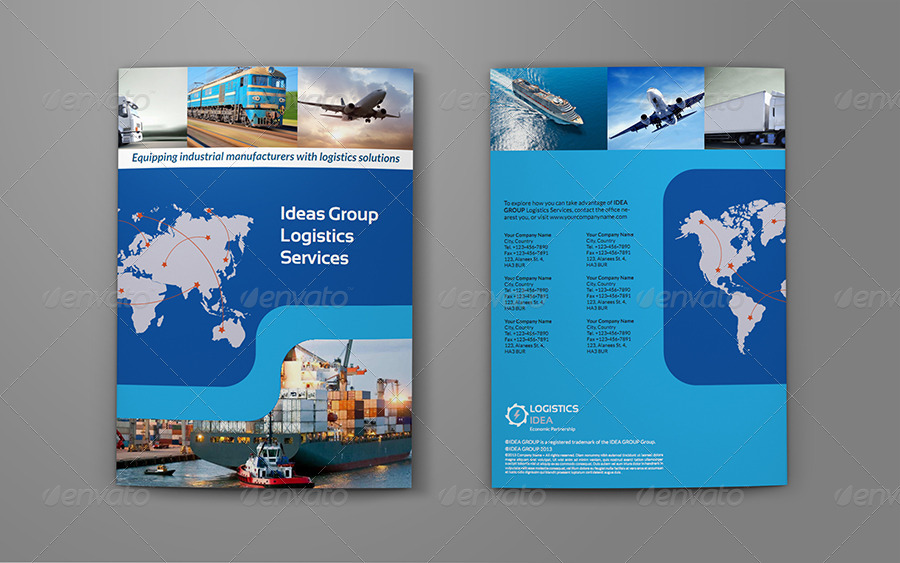 Logistics Services Bi Fold Brochure Template By Owpictures