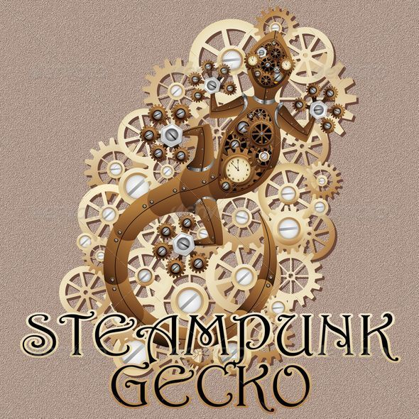 Steampunk Gecko Lizard Vintage Style - Animals Characters