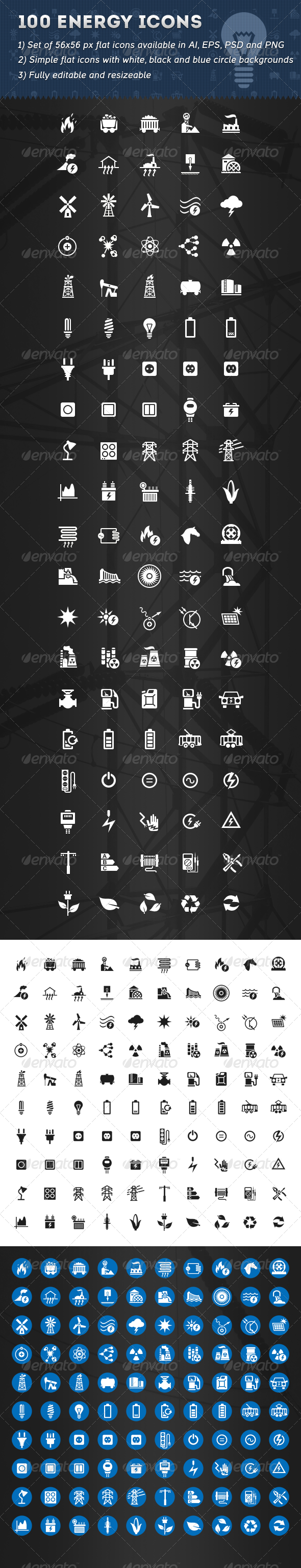 100 Energy Icons - Technology Icons