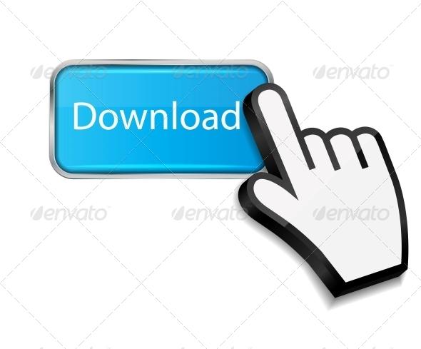 Mouse Hand Cursor on Download Button - Web Elements Vectors
