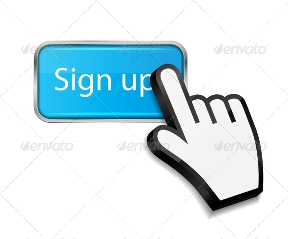 Mouse Hand Cursor on Sign Up Button - Web Technology