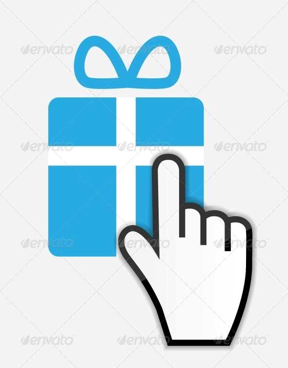 Mouse Hand Cursor on Gift - Retail Commercial / Shopping