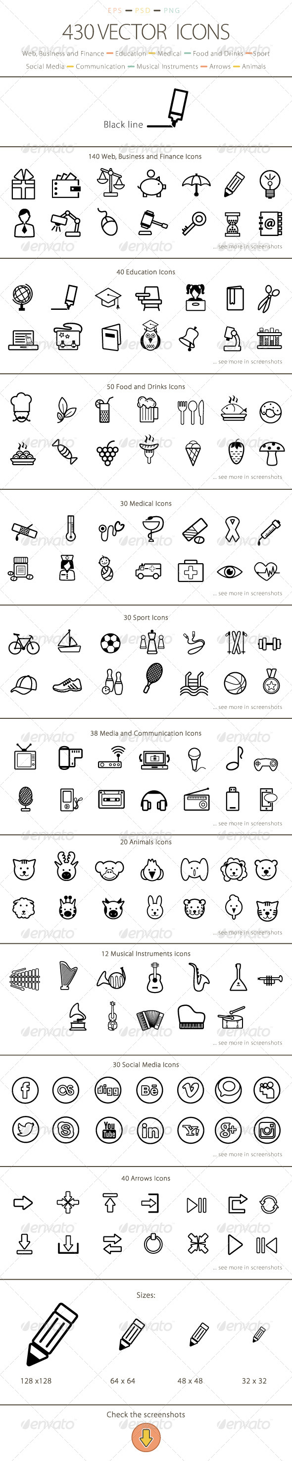 Set of 430 Vector Icons - Black Line - Web Icons