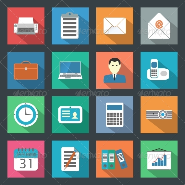 Office Flat Icons Set - Web Technology