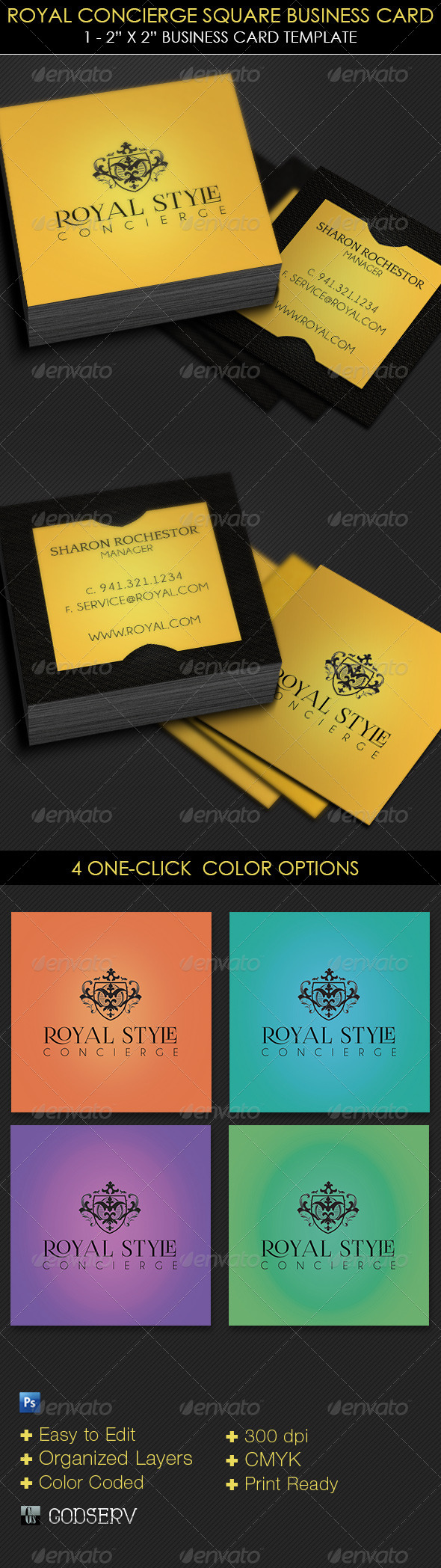 Royal Concierge Square Business Card Template - Industry Specific Business Cards