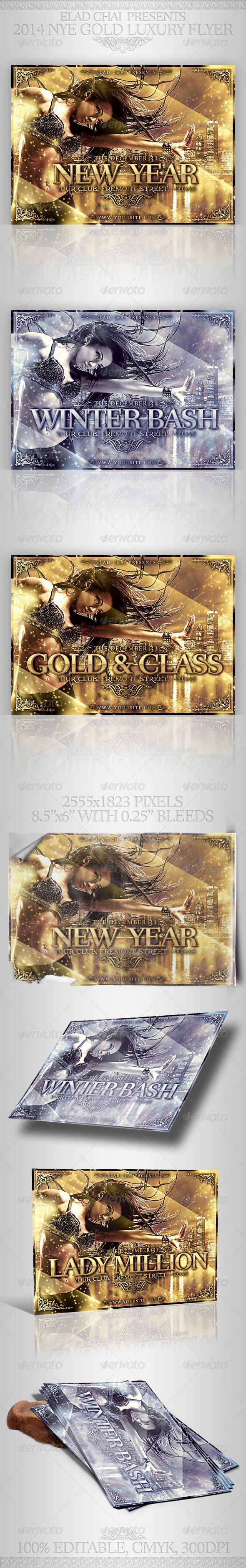 2014 NYE Gold Luxury Winter Flyer - Events Flyers