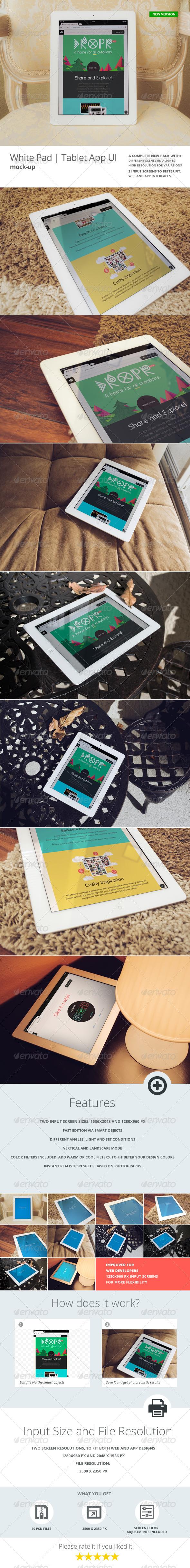White Pad | Tablet App UI Mock-Up - Mobile Displays