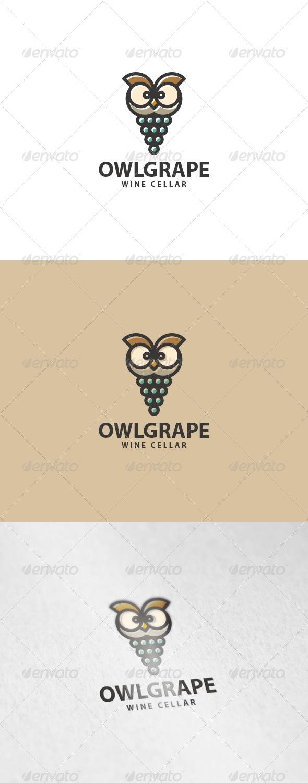 Owl Grape Logo - Animals Logo Templates