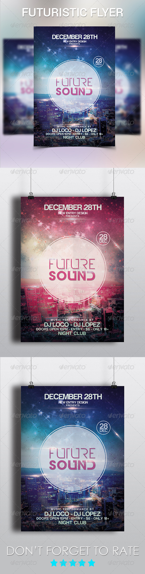 Futuristic City Flyer Template - Clubs & Parties Events