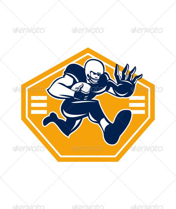 American Football Running Back Stiff Arm - Sports/Activity Conceptual