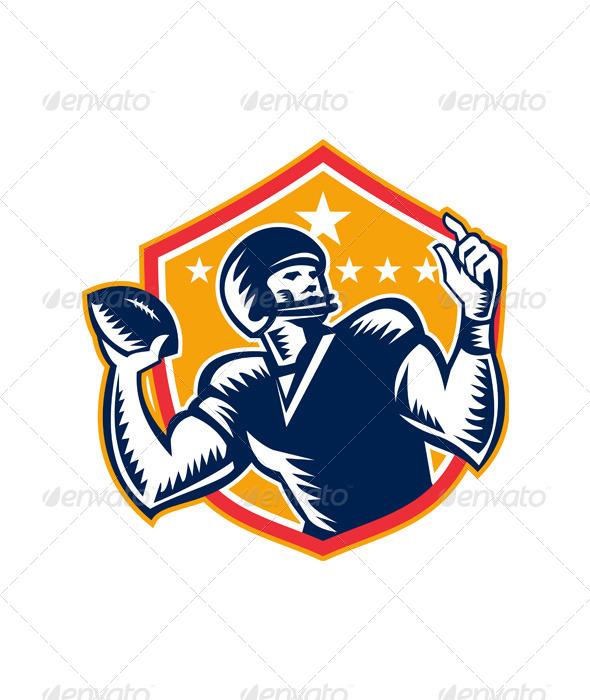 American Football Quarterback QB Woodcut - Sports/Activity Conceptual