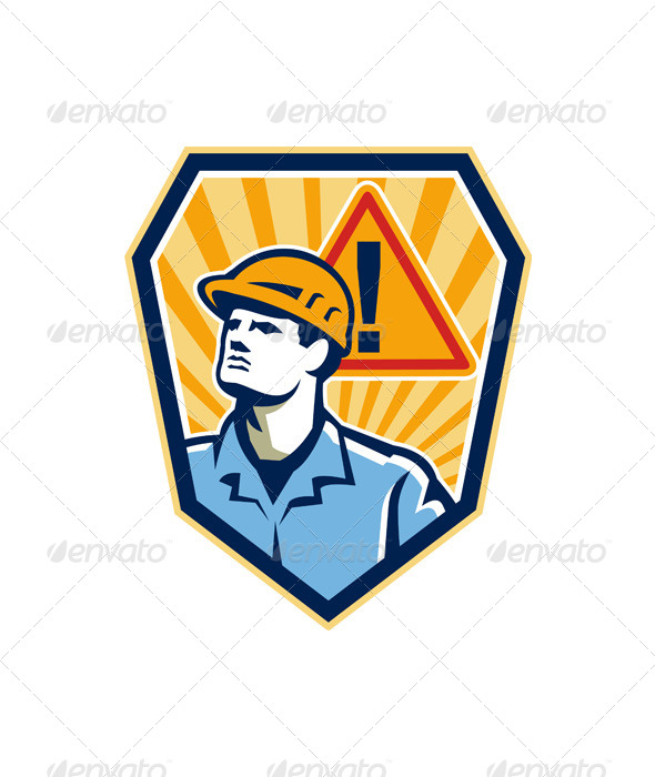 Contractor Construction Worker Caution Sign Retro - People Characters