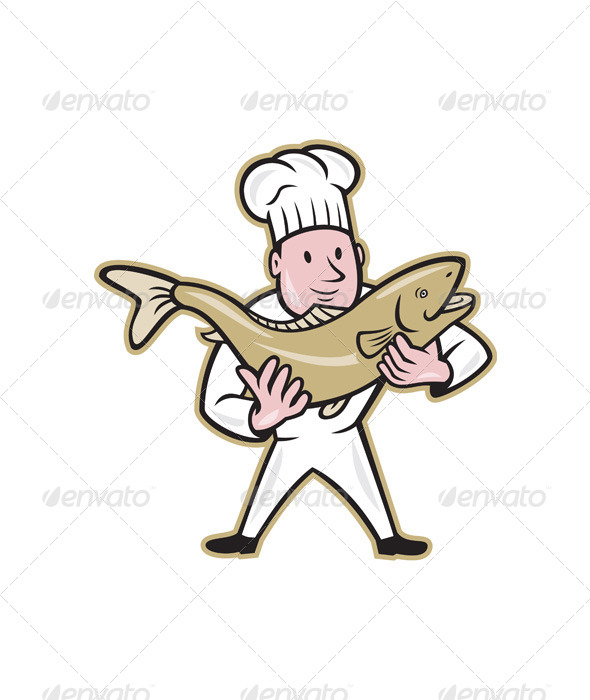 Chef Cook Handling Salmon Fish Standing - People Characters