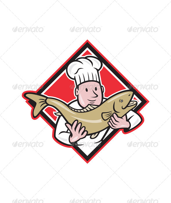 Chef Cook Handling Salmon Trout Fish Cartoon - People Characters