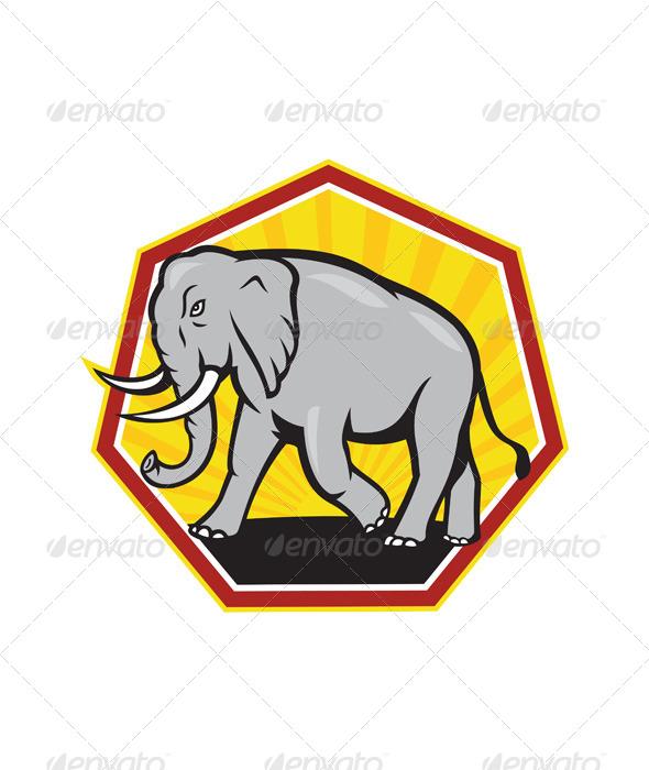 Angry Elephant Walking Cartoon - Animals Characters