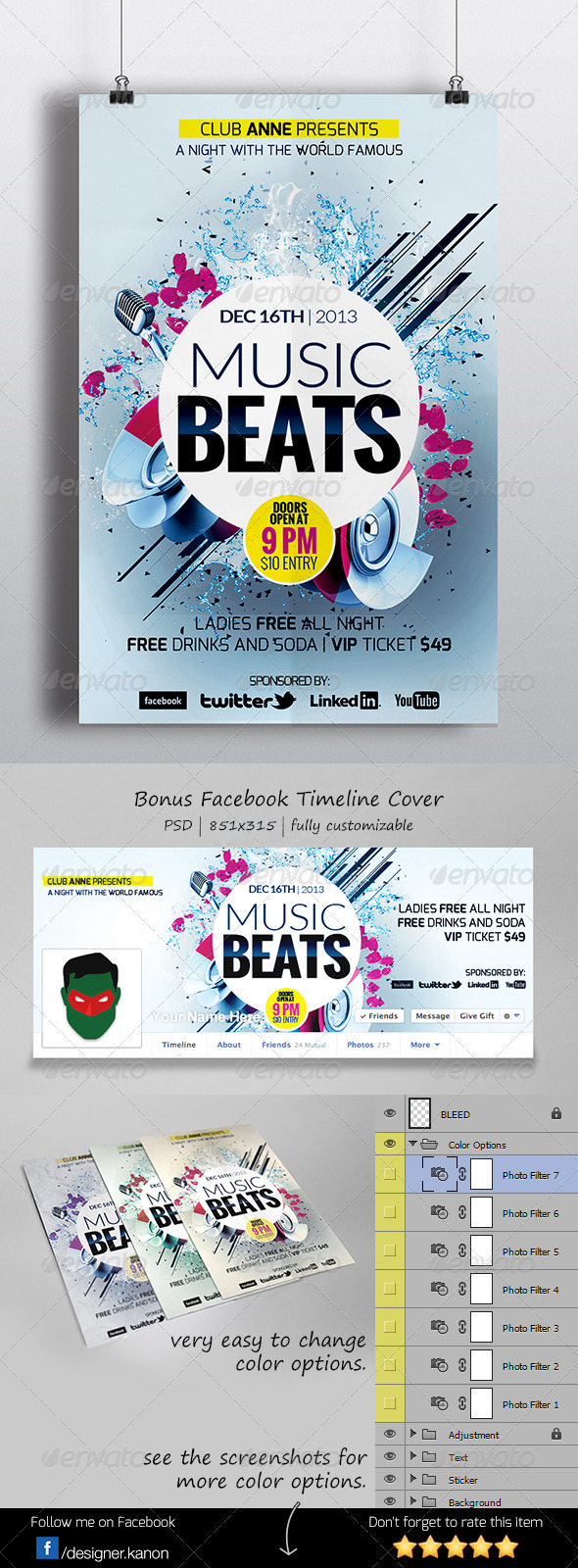 Futuristic Flyer + Facebook Cover - Clubs & Parties Events