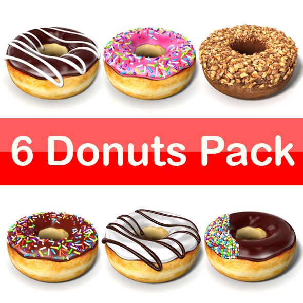 6 Donuts Pack - 3DOcean Item for Sale