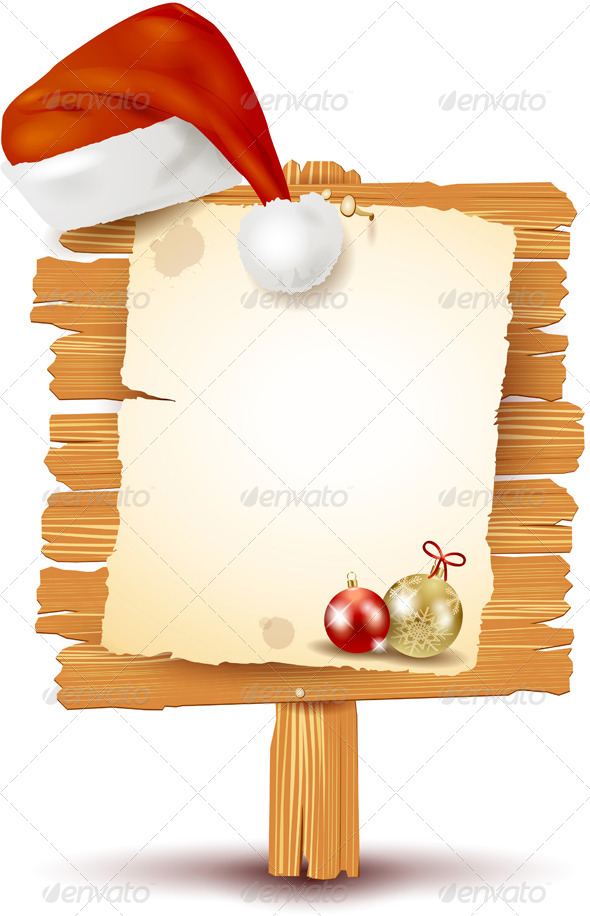 Christmas Signboard on a Pole with Santa's Hat - Christmas Seasons/Holidays