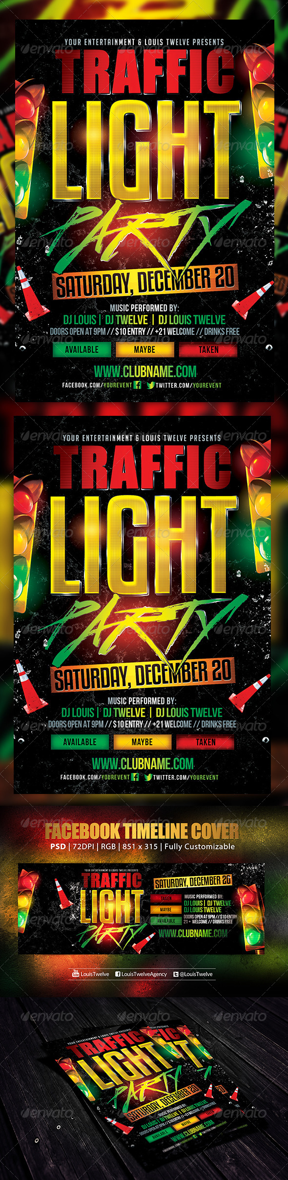 Traffic Light Party 2 | Flyer + FB Cover