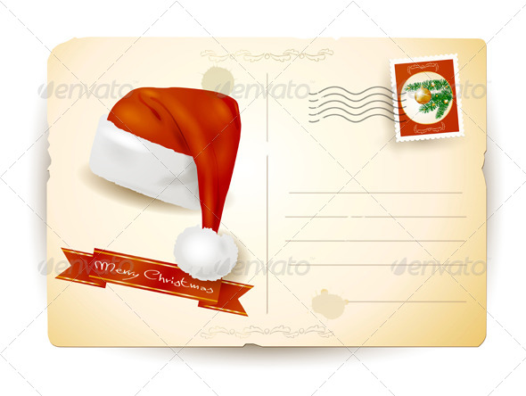 Christmas Postcard with Santa's Hat - Christmas Seasons/Holidays
