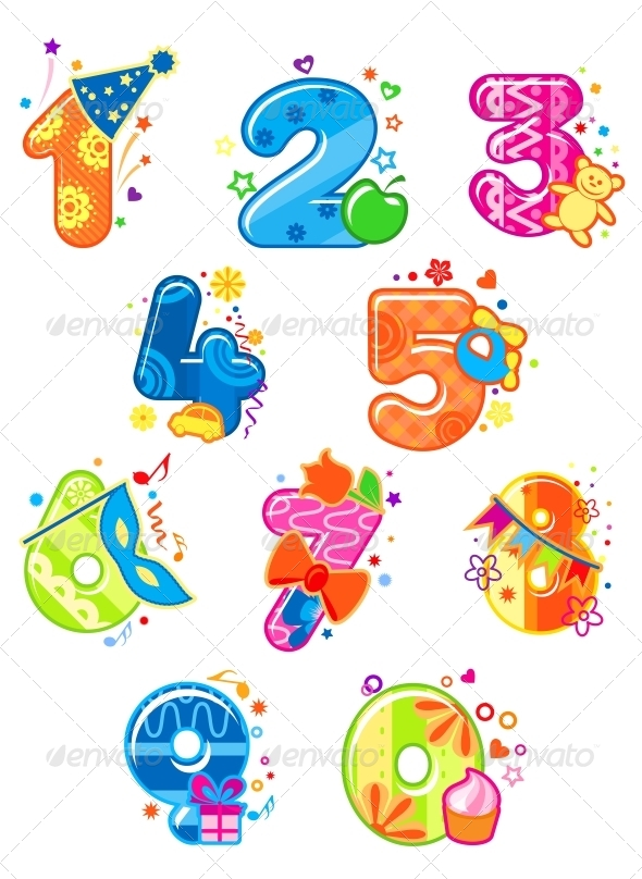 Cartoon Digits and Numbers with Toys - Decorative Symbols Decorative