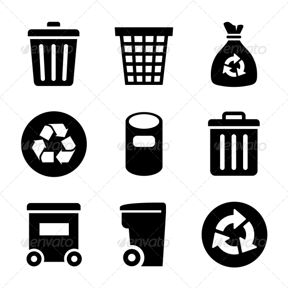 Garbage Icons Set - Web Elements Vectors