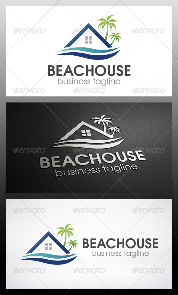 Beach House Logo - Buildings Logo Templates