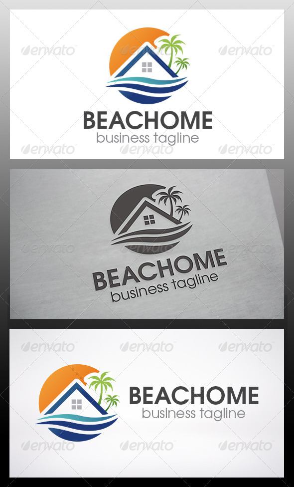 Beach Home Logo - Buildings Logo Templates