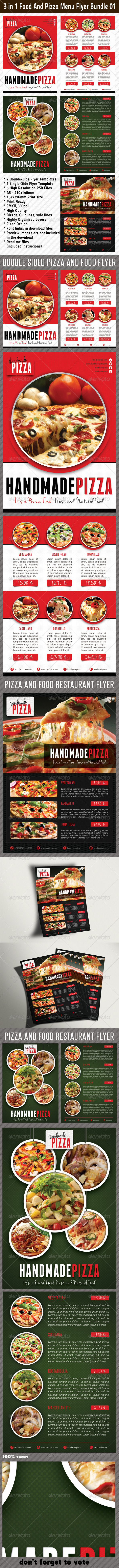 3 in 1 Food And Pizza Menu Flyer Bundle 01 - Restaurant Flyers