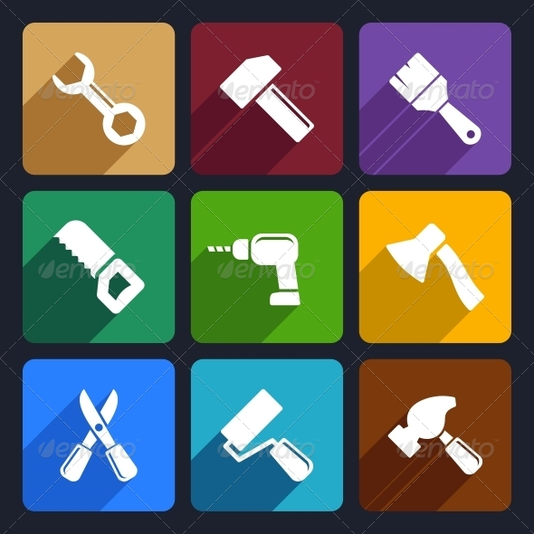 Working Tools Flat Icon Set 13 - Objects Icons